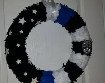 Thin Blue Line American Flag Wreath with Badge