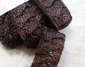 "HANK  1.125"" Millinery Lace straw, Raffia, hat, trim,Viscose, horsehair, hemp? Breath of Purple"