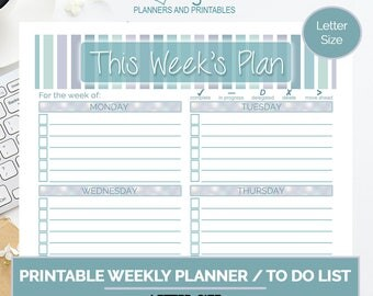 Breezy Weekly Planner, Printable To Do List, Weekly Plan, Goal Setting Planner, Productivity Planner, Printable Planner, Letter Size