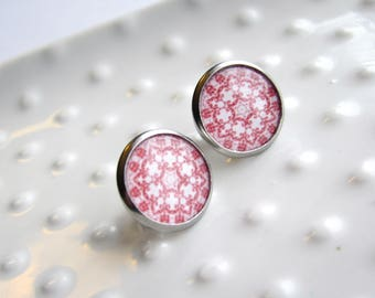 Red and White Lace Pattern - Stainless Steel stud earrings - 12mm round - Epoxy  resin - Everyday Earrings - Sensitive Earrings - Valentine