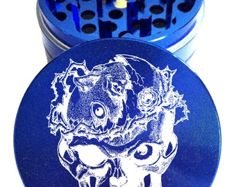 """Skull #5 Engraved Herb Grinder - 4pc Herb Grinder - 2.2"""" Herb Grinder - Custom Grinder - Personalized Herb Grinder - Life Time Warranty"""