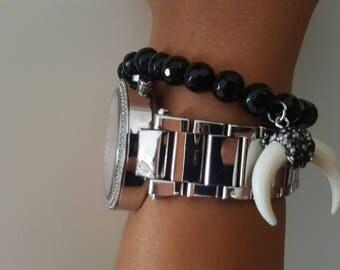 Black crystal stones bracelet with sparkling Ivory tooth medallion