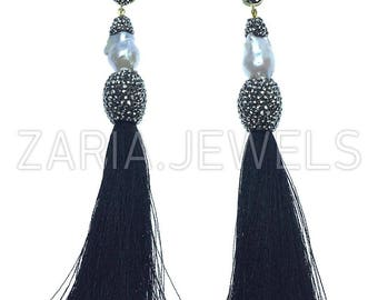 Druzy swarovski crystal fringe earrings black silver boho chic