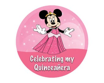 Minnie Mouse Quinceañera Button - Quinceañera Celebration Badge - Disney Park Pin - Theme Park Button - Birthday Button - 15th Birthday Pin