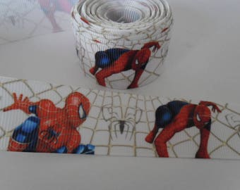 "1 meter Ribbon grosgrain ""Spiderman"" 22 mm, white"