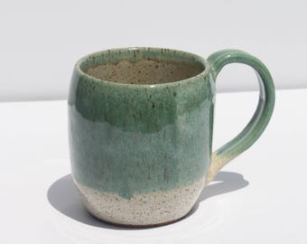 Large Green and White Mug