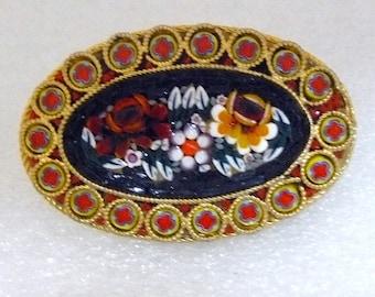 Mosaic Tile Brooch Vintage Italian Style Mosaic Vintage Brooch Pin