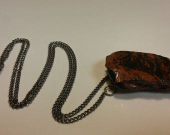 Raw Mahogany Obsidian Pendant Necklace