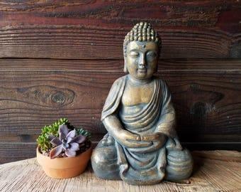 LARGE *Sitting Buddha Statue* - Meditating Room Yoga Zen Sculpture - *Vintage/Antique Look*