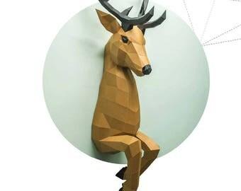 Deer out of wall  pepakura papercraft paperfreak low poly sculpture DIY wall decor paper head
