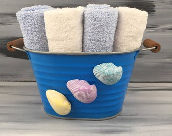 Blue Beach Bathroom Bin - Beach Bathroom - Bathroom Wash Cloth Holder with Seashells. 4 light blue wash cloths and 4 white wash cloths.