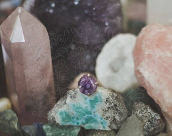 Purple Solar Quartz Ring - Sterling Silver - Hippie Boho Bohemian Gypsy Crystal Healing Jewelry