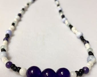 Black and White Czech glass and Amethyst Necklace
