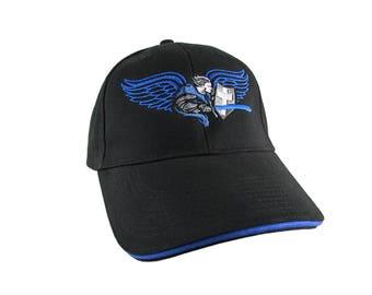 Saint Michael Archangel Thin Blue Line Symbolic Blue Embroidery on a Black Structured Adjustable Baseball Cap with Royal Blue Trim Peak