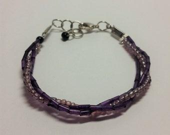 Purple Woven Seed Beed Bracelet