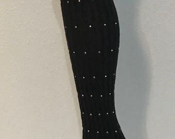 Black Knee High Leg Warmers with AB Glass Rhinestones