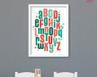 Coral and green Alphabet Primer kid POSTER