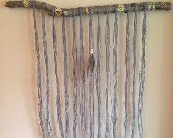 Gray hemp yarn hanging