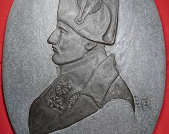 Stone Profile Bas-Relief Portrait of Napoleon Bonaparte