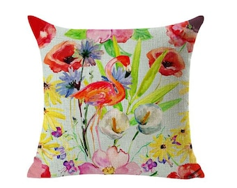 Pink flamingo floral  flowers tropical watercolor painting style square linen cushion pillow cover