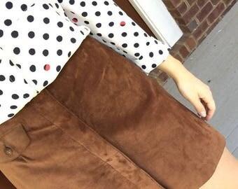 Bushwacker Brown Leather Suede Skirt