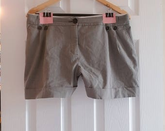 Grey striped shorts with buttons and pockets, size 12