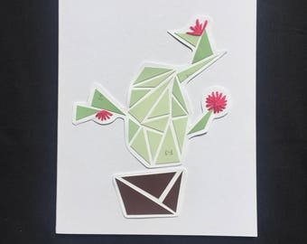 Cute Blooming Cactus Cards