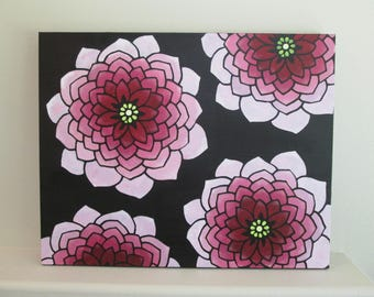 Pink Flowers on Black textured background