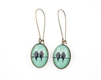 Birds #1376 Mint green earrings
