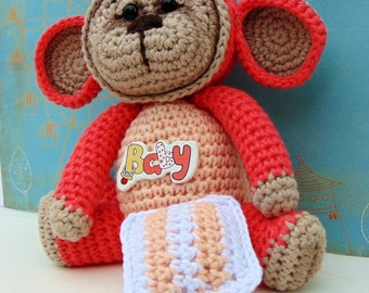 Crochet Sleepy Monkey Amigurumi in Peach colour with Crochet Pillow and Baby Button, Stuffed Toy