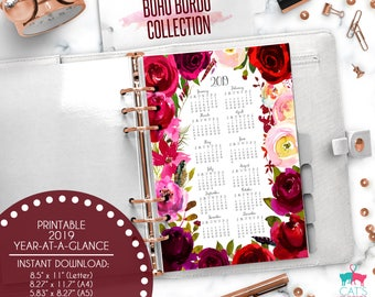 Printable Calendar A5 A4 Letter Watercolor Planners 2019 Year at a Glance | Boho Bordo Floral Collection | BBCYG19