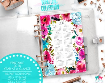 Printable Calendar A5 A4 Letter Watercolor Planners 2018 Year at a Glance | Boho Chic Floral Collection | BCCYG18