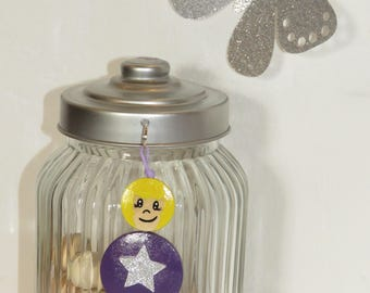 Bag charm, Keychain, best friend, purple star glitter, wood, painted beads handmade beads of smiles personalized message