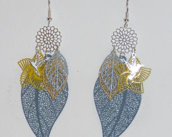 Leaf earrings, prints, flowers, dangling earrings, earrings, silver, grey Pimprenellecreations