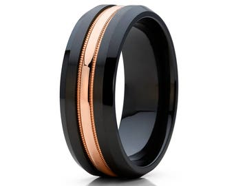 Black Wedding Band Black Zirconium Wedding Ring 14k Rose Gold Groove Milgrain Design