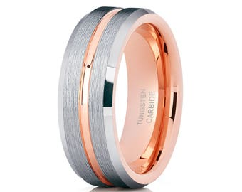 Tungsten Wedding Band Rose Gold Tungsten Ring Men & Women Brush Tungsten Carbide Ring Anniversary Ring
