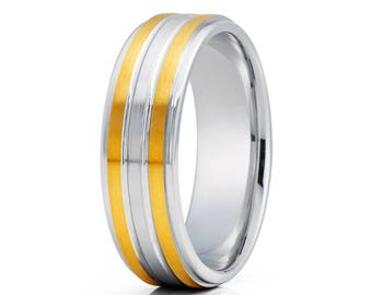 Men's Gold Wedding Band 14k White Gold Wedding Ring Anniversary Ring Yellow Gold Wedding Ring Men & Women Wedding Band