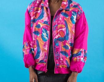 Windbreaker, 90s Windbreaker, 80s Windbreaker, Vaporwave, Silk Jacket, Floral Jacket, Pink Jacket, Graphic, Wind Jacket, Sports Jacket, 90s