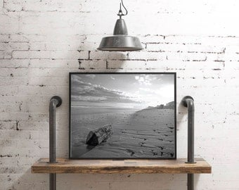 8x10 printable, beach photography, black and white photography, printable photography, instant download, digital download, beach printable