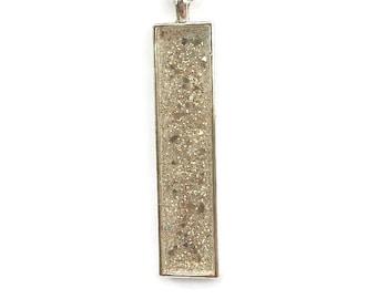 Drop pendant, drop necklace, bar pendant, pendant necklace, boho, under 20, white pendant, skinny pendant, glitter pendant, sparkle pendant
