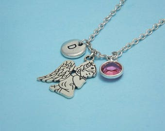 Silver angel necklace Guardian angel necklace Silver angel charm Angel pendant Guardian angel gifts Guardian angel jewelry Confirmation gift