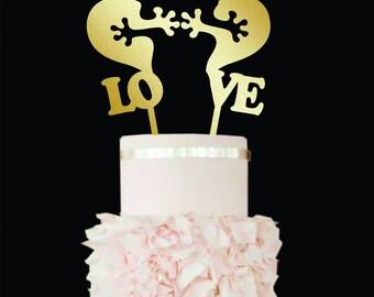 Funny Wedding Cake Topper Love Wedding Cake Topper gold Wood Monogram wedding cake topper Puzzle Cake topper Rustic Wedding Cake Topper