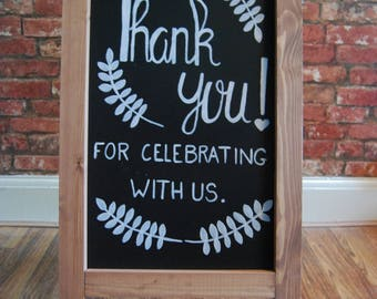 Bespoke Hand Drawn 'Thank You' Wedding Chalkboard A-Frame Sign | For Wedding or Party | Wedding Signs