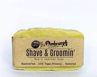 Shave & Groomin Men's Shaving vegan soap 100% Organic Gift for Him Handmade gift for November Boyfriend Holiday Gift for Men natural shaving