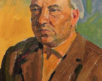 Sale 30%! VINTAGE MALE PORTRAIT Original Oil Painting by a Soviet Ukrainian artist A.Solodovnikov 1970s, Portrait of a man Socialist Realism