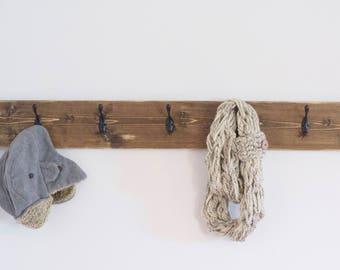 Wood Coat Rack   Rustic Coat Rack   Entryway Coat Hooks   Wall Mount Coat Rack   Wall Coat Rack   Hat Rack   Hooks for Mudroom Customizable