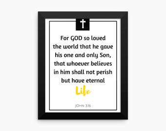 Bible Verse Wall Art, For God so loved the world that he gave John 3:16, Bible Quote, Scripture, Bible Verse Print, Quotes, Quotes, Prints