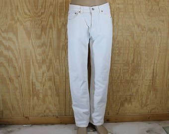 Vintage 1970's 80's LEVI'S 501 XX Button Fly White Cotton Denim Blue Jeans Red Tab 32 x 31