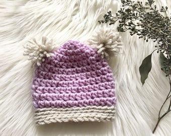 Cute Knit Newborn Pom Pom Beanie Hat
