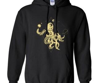 Cosmic hoodie, octopus hoodie, space hoodie, planets hoodie, stars hoodie, galaxy hoodie